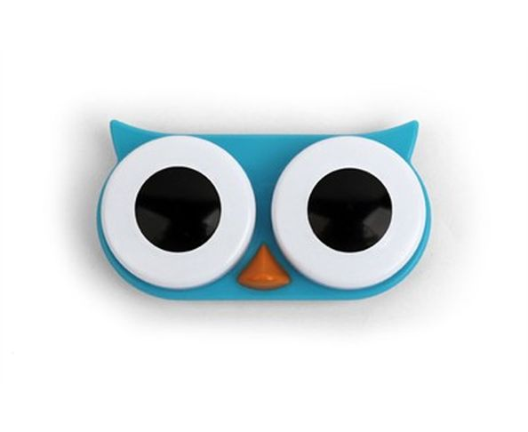 Boîte pour lentilles de contact hibou Bleu