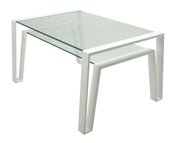 Table d'appoint blanche et verre transparent