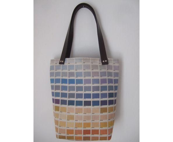 Petit sac cabas nuancier bleu orangé - Daniela Belfiore
