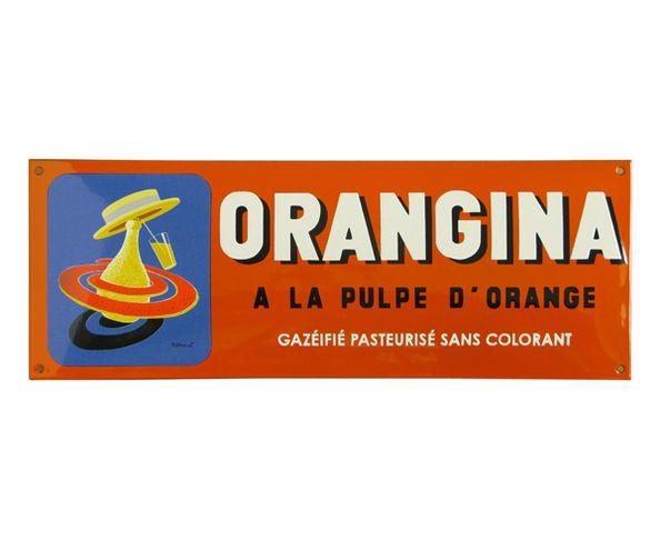 Orangina - Plaque émaillée au pochoir