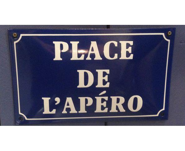 Place de l'apéro - Plaque émaillée au pochoir