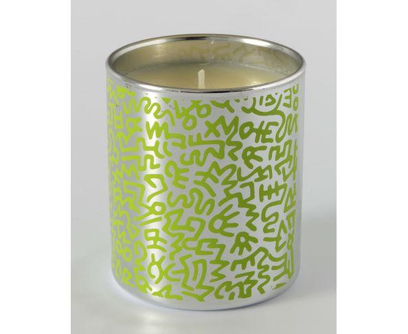 """Bougie chromée parfumée à la verveine """"Green Pattern"""" de Keith Haring"""