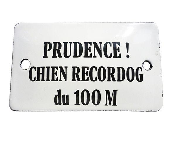Chien recordog du 100 m - Plaque émaillé