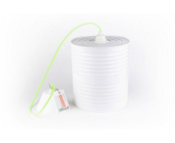 "Suspension ""pot de peinture"" blanche, cordon vert fluo RESCUED"