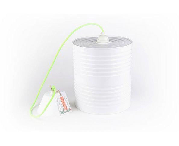 suspension pot de peinture blanche cordon vert fluo. Black Bedroom Furniture Sets. Home Design Ideas