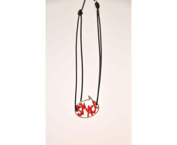 Bracelet argent - Smack rouge / noir - La Mome Bijoux