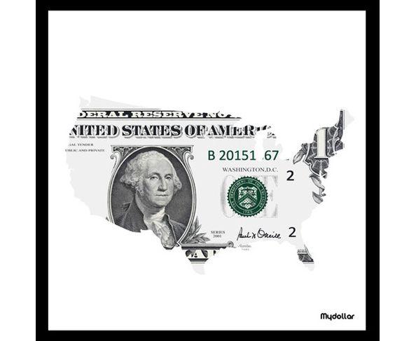 Tableau Mapdollar - My Dollar blanc 50 x 50 cm