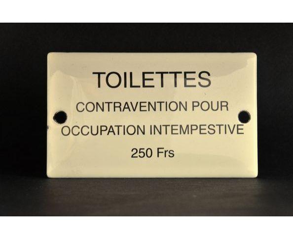 Toilettes contravention Plaque émaillée - Email Replica