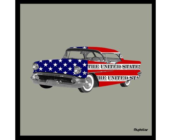 Tableau Flagcar sur châssis - My Dollar 25 x25 cm taupe