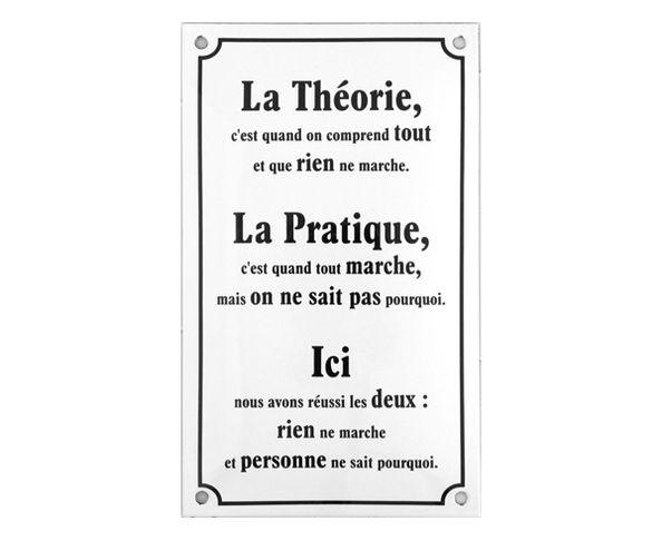 La théorie ... - Plaque émaillée
