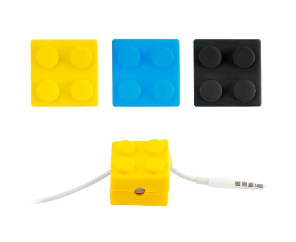 Range fils pour écouteurs Brick Jaune en forme de Légo