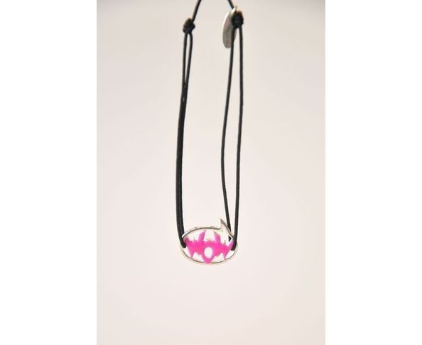 Bracelet argent - WOW rose / noir - La Mome Bijoux