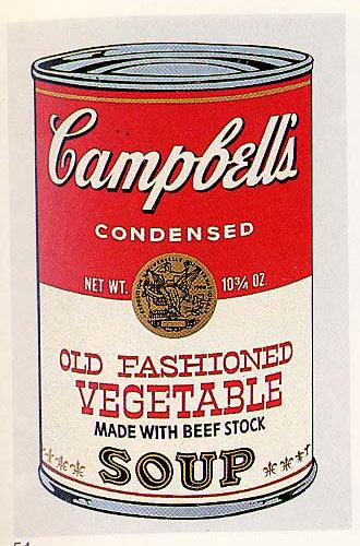 """Campbell's can of soup, imaginée par Warhol dans sa série """"objets du quotidien"""""""